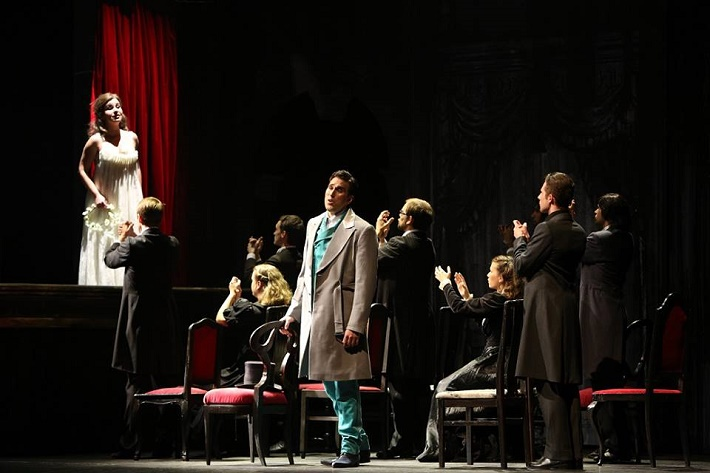 Dorian Gray, Opera SND, Katarína Juhásová-Štúrová (Sybil Vane), Eric Fennell (Dorian), foto: Jozef Barinka