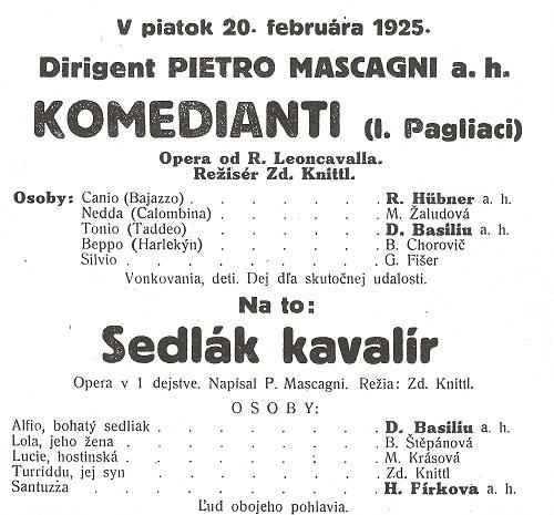 Mascagni v BA 1925