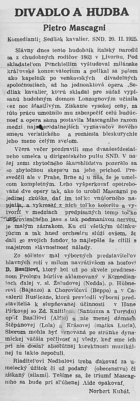 Recenzia na predstavenie pod taktovkou Pietra Mascagniho Národný denník, roč. 4, 22.02.1925, č. 43, s. 6