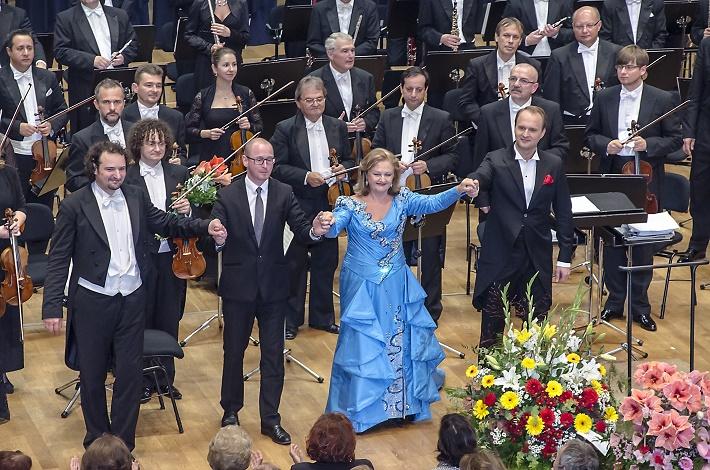 Koncert Edity Gruberovej v rámci BHS 2014, P. Valentovič, J. Chabroň, E. Gruberová, R. Šveda