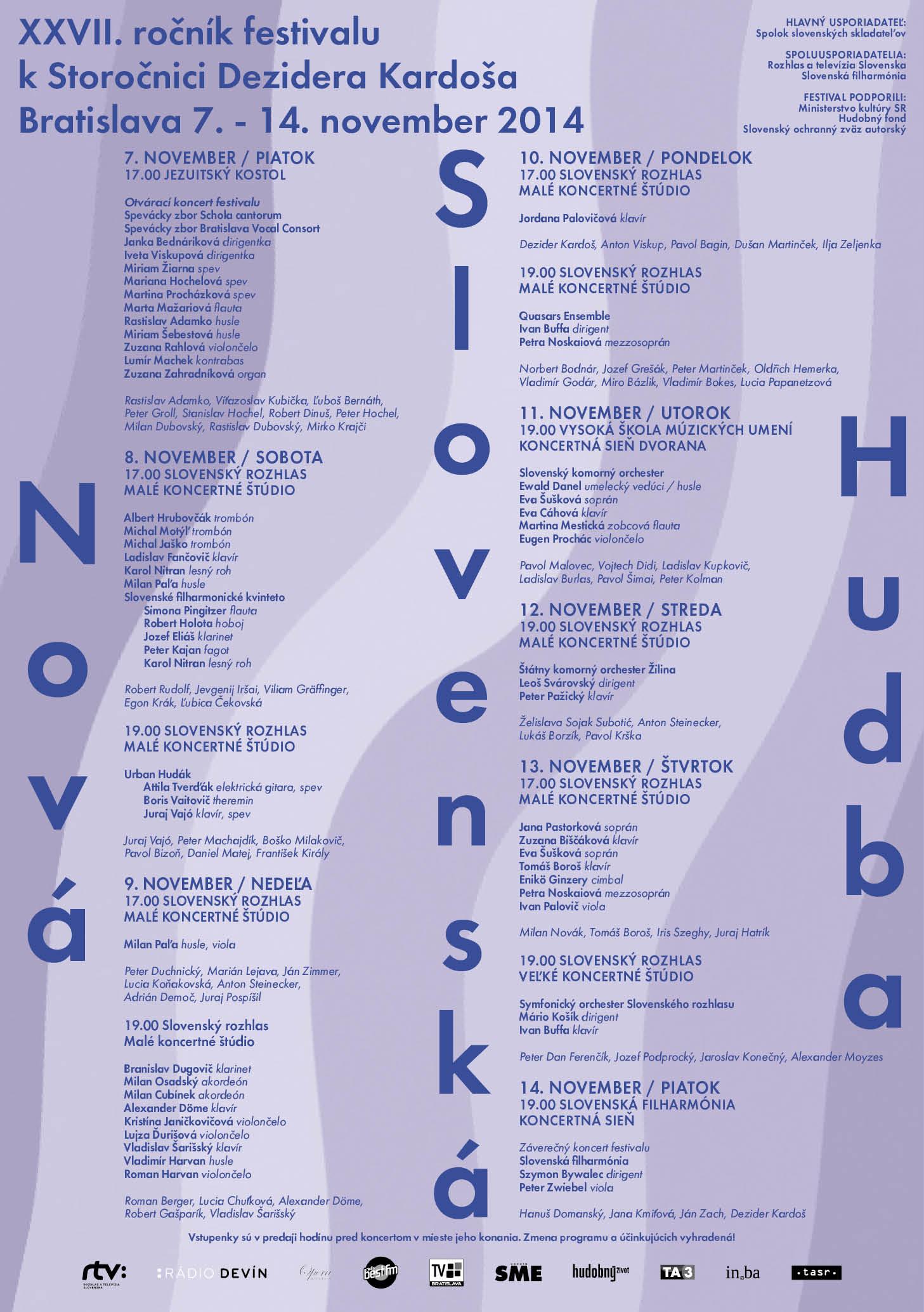 Nová slovenská hudba 2014, program