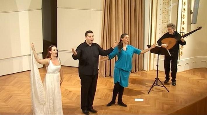 foto z koncertu v Slovenskej filharmónii, zľava: E. Šušková, T. Šelc, P. Noskaiová, I. Herzog