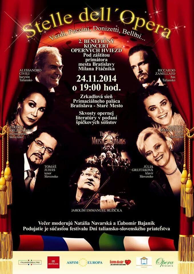Operný koncert otvorí festival Dni Taliansko – Slovenského priateľstva v Bratislave