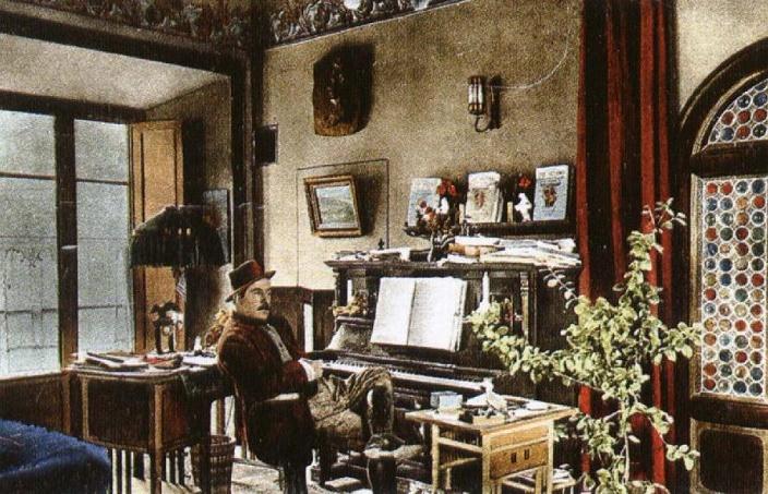 Puccini vo svojej vile v Torre del Lago