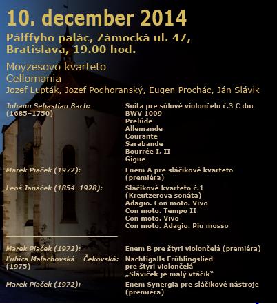 Cellomania + Moyzes Quartet, koncert plagát
