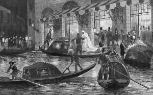 Teatro la Fenice, Historická kresba z 19. storočia znázorňujúca príchod hostí do divadla.