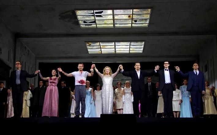 Lucia di Lammermoor, Mníchov, ďakovačka po premiére, foto: Conny Butzbach