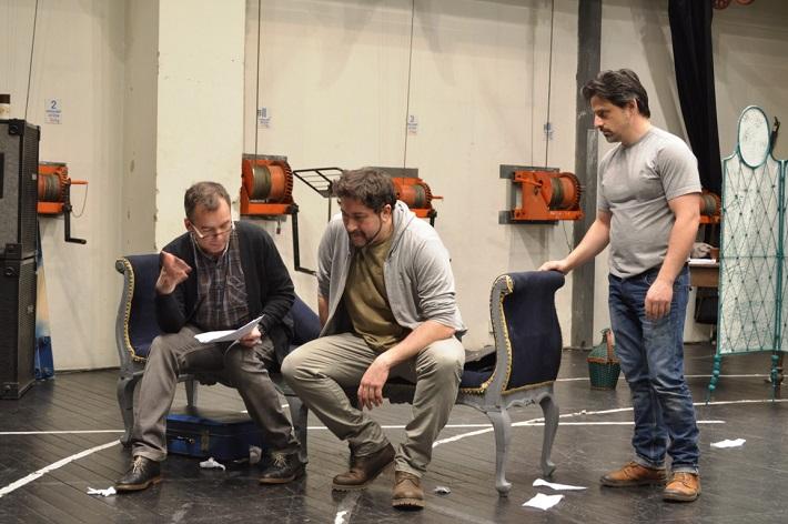 Skúška opery Manon Lescaut v ŠD Košice, Peter Gábor, Marco de Carolis, Ludovic Kendi, foto: ŠKDE