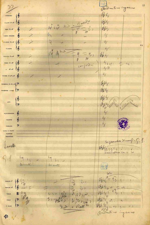 originálny rukopis Pucciniho opery Gianni Schicchi