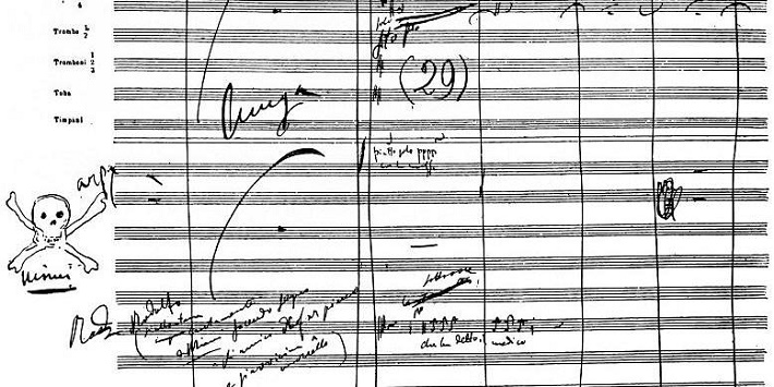 rukopis Pucciniho Bohémy