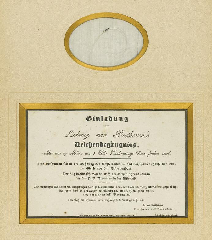 Ústrižok Beethovenových vlasov a pozvánka na jeho pohreb.