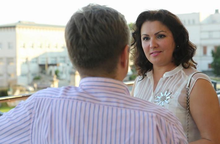 Anna Netrebko a Peter Bleha počas rozhovoru pre Opera Slovakia, foto: Jozef Barinka