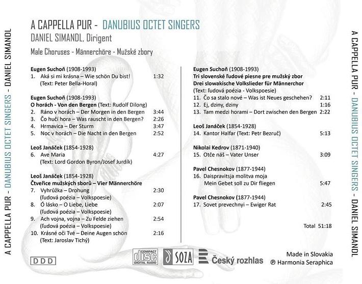CD: A Cappella Pur, Danubius Octet Singers, obal CD - zadná časť