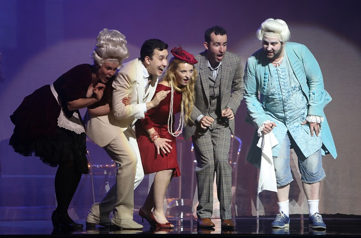 Kráľ Teodor v Benátkach, Operné štúdio SND, K. Vylíčilová (Lisetta), R. Gatin (Sandrino), R. Buchmayer (Belisa), M. Pobuda (Acmet), T. Šelc (Taddeo), foto: Jozef Barinka