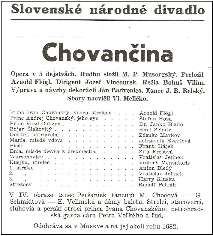 M. P. Musorgskij: Chovančina, 1939, plagát s obsadením, (Archív SND)