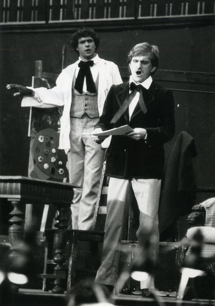 Zámocké hry zvolenské, 1988, Giacomo Puccini: Bohéma, Martin Babjak (Marcello), Krzysztof Molenda (Rodolfo), foto: Pavel Danko, (Archív DÚ)