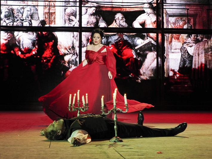 G. Puccini Tosca, open air festival v St. Margarethen 2015, Martina Serafin (Tosca), Davide Damiani (Scarpia)