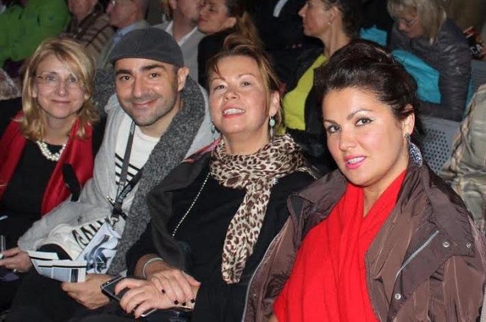 G. Puccini Tosca, open air festival v St. Margarethen 2015, zľava Silvia Hroncová, Roland Tóth, Irina Gulyajeva, Anna Netrebko na predstavení v St. Margarethen