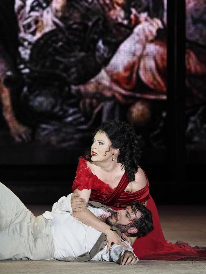G. Puccini Tosca, open air festival v St. Margarethen 2015, premiéra, Martina Serafin (Tosca), Andrea Caré (Cavaradossi)