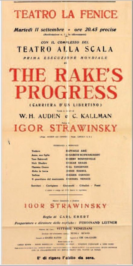 I. Stravinskij The Rake´s Progress, La Fenice Benátky 1951, plagát k svetovej premiére opery