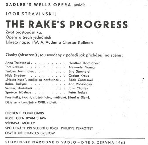 I. Stravinskij The Rake´s Progress, Sadler´s Wels Opera, pohostinské vystúpenie v opere SND, 1965, foto: Archív SND