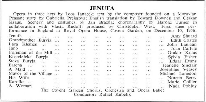L. Janáček Jej pastorkyňa, Covent Garden Londýn, 1956