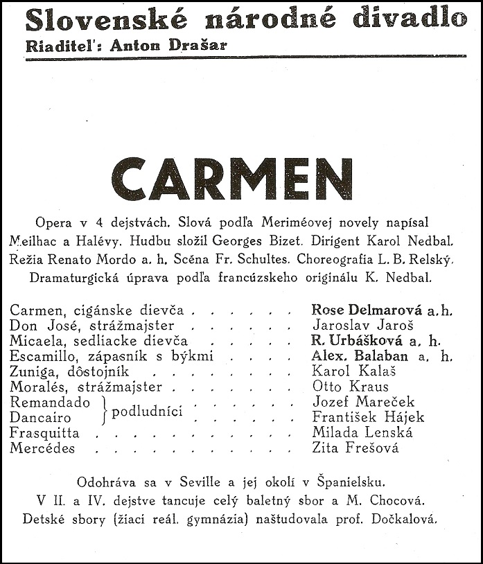 G. Bizet, Carmen, Programový bulletin SND (1938), foto: Archív DÚ