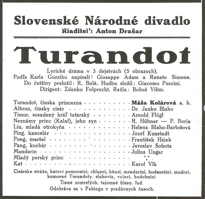 G. Puccini: Turandot, 1931, programový plagát SND, foto: Archív DÚ