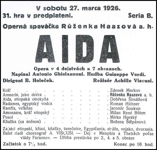 G. Verdi, Aida, Programový plagát SND (1926), (pozn. red. na plagáte je chybne uvedené meno Růženka Haazová, správne má byť Ružena Haasová), foto: Archív SND