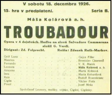 G. Verdi: Trubadúr, 1926, programový plagát SND, foto: Archív SND