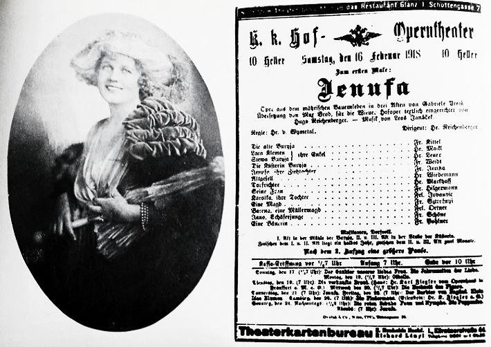 Maria Jeritza - predstaviteľka Jenůfy vo viedenskej premiére opery