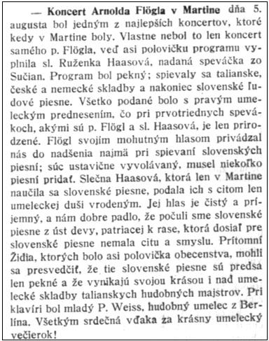 Kritika v martinskom týždenníku Hlásnik, roč. 6, 1925, č. 30, s. 4
