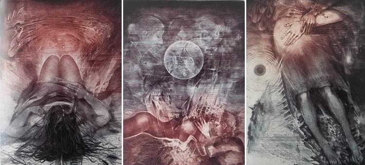 3 zo 6 grafických listov na motívy Zápisníku zmizelého, vytvorených Karlom Demelom v roku 1980