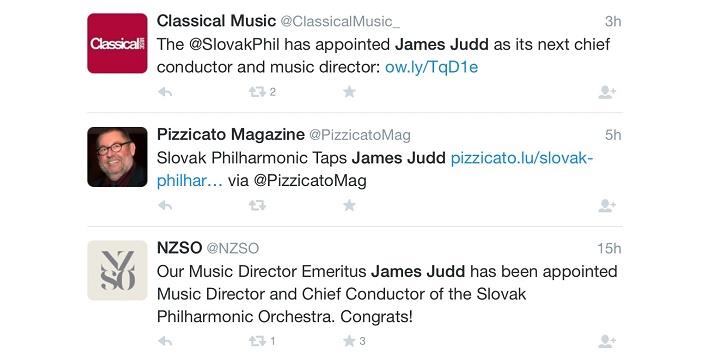 Niekoľko reakcí na sociálnej sieti Twitter na vymenovanie nového šéfdirigenta.