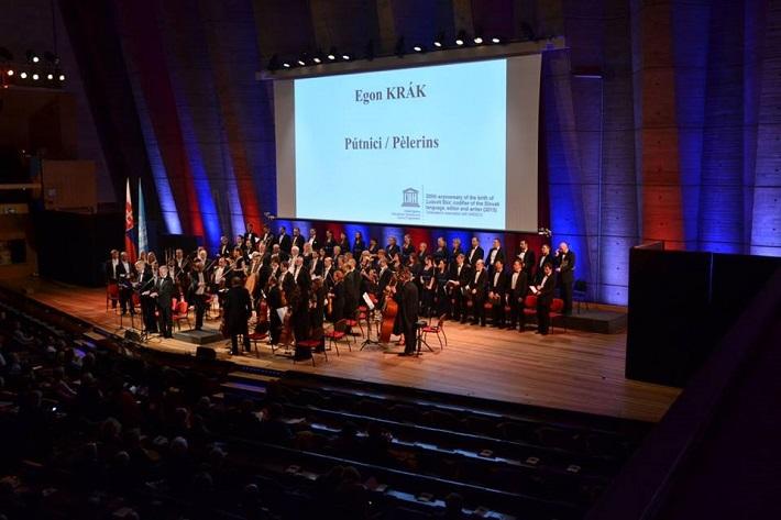 Slov. filharmonický zbor a ŠKO Žilina uviedli v Paríži melodrámu E. Kráka ,,Pútnici, foto: FB ŠKO