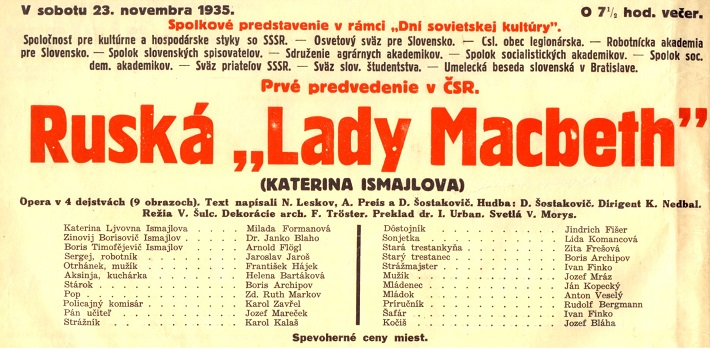 D. Šostakovič, Ruská lady Macbeth, Slovenské národné divadlo, 1935, Programový plagát k premiére, foto: Archív SND