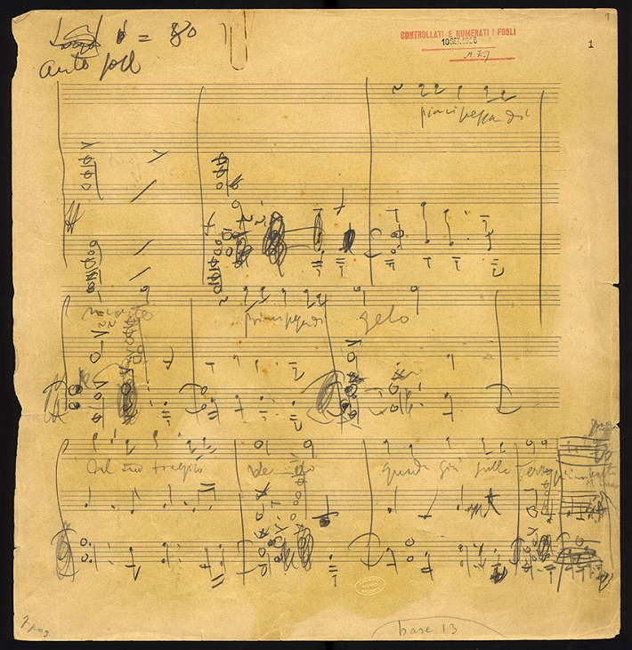 """Pucciniho vlastnoručne písané skice k záveru opery. Notový zápis k slovám ,,Principessa di morte""""."""