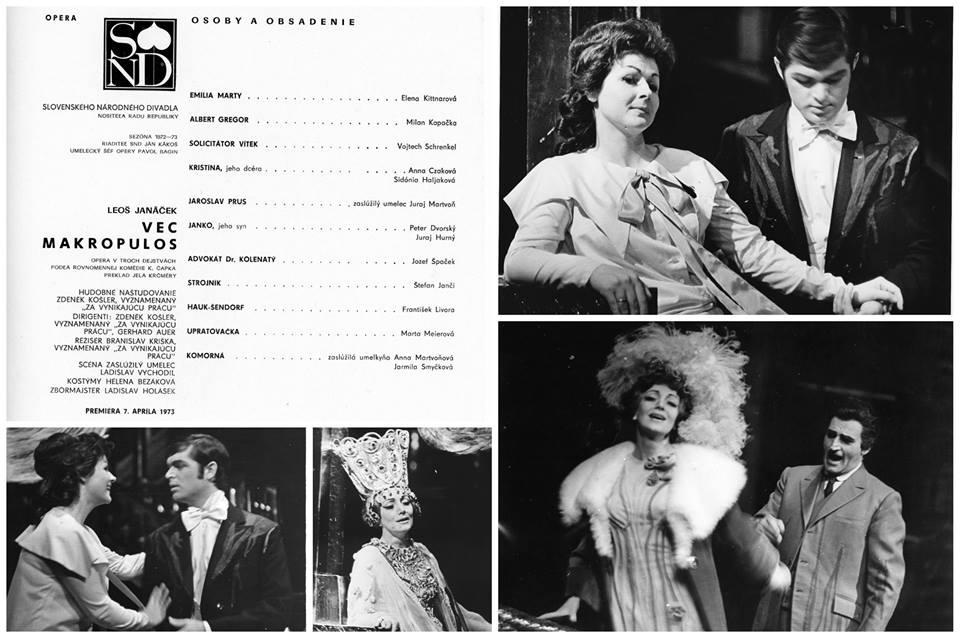 Vec Makropulos v Opere SND v roku 1973, foto: FB Opery SND