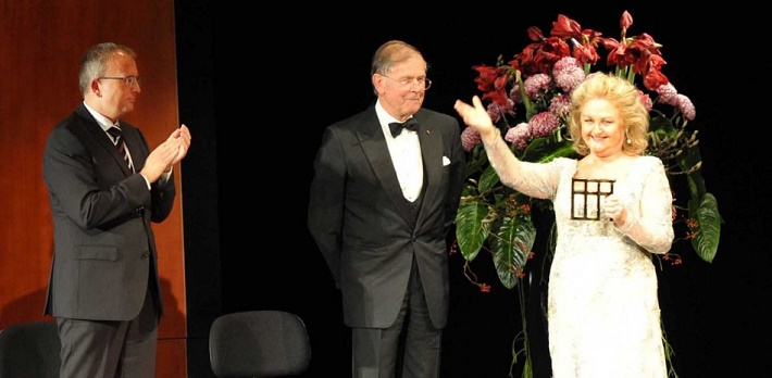 Edita Gruberová na udeľovaní Hudobnej ceny Herberta von Karajana, Baden-Baden, 2013, foto: internet