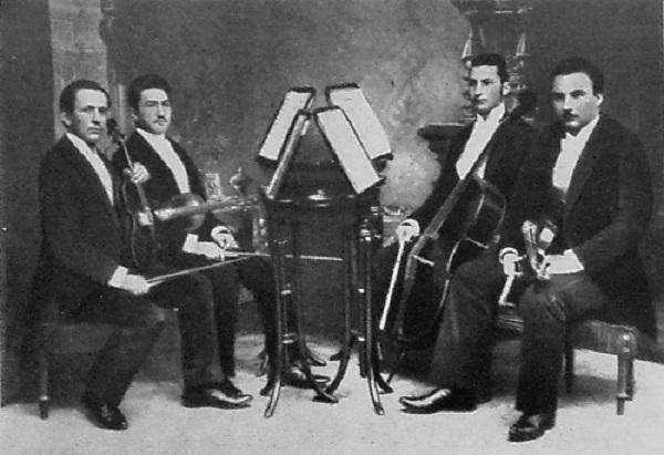 České kvarteto, pôvodná zostava z rokov 1892-1894, zľava: Karel Hoffmann, Jozef Suk, Otto Berger, Oskar Nedbal