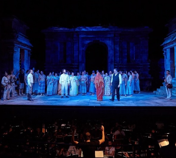 G. Bizet, Lovci perál, Opera Sydney, 2016, foto zo skúšky, P. Bršlík (Nadir), J. Carbó (Zurga), E. Siurina (Leila), D. Sumegi (Nurabád), foto: Keith Saunders