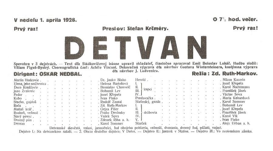 W. F. Bystrý: Detvan, Opera SND, 1928, réžia Zdenko Ruth-Markov, plagát k premiére, foto: Archív SND