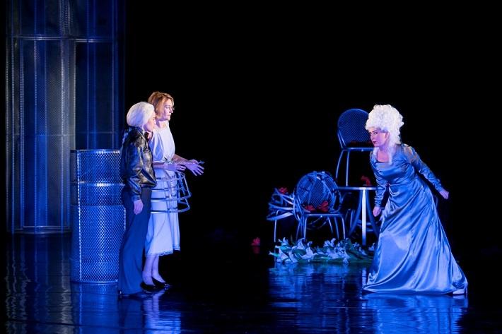 G. F. Händel: Alcina, Opera ŠD Košice, 2016, A. Manske (Ruggiero), M. Cukrová (Bradamante), M. Várady (Alcina), foto: Joseph Marčinský