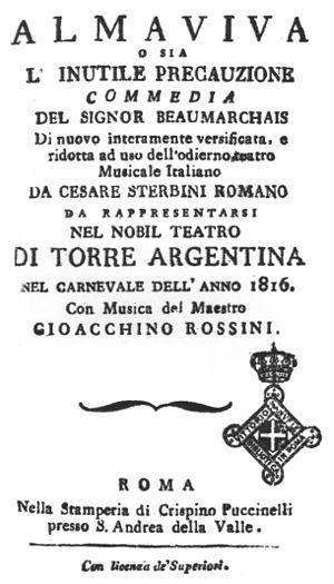 G. Rossini: Almaviva, ossia L´inutile precauzione, obálka libreta