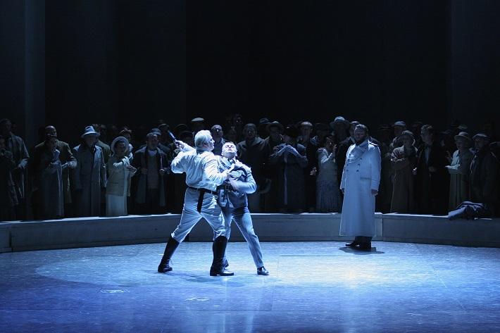 R. Wagner: Lohengrin, Opera SND, 2013, Miroslav Dvorský (Lohengrin), Jakub Kettner (Friedrich), Jozef Benci (Kráľ Heinrich), foto: Anton Sládek