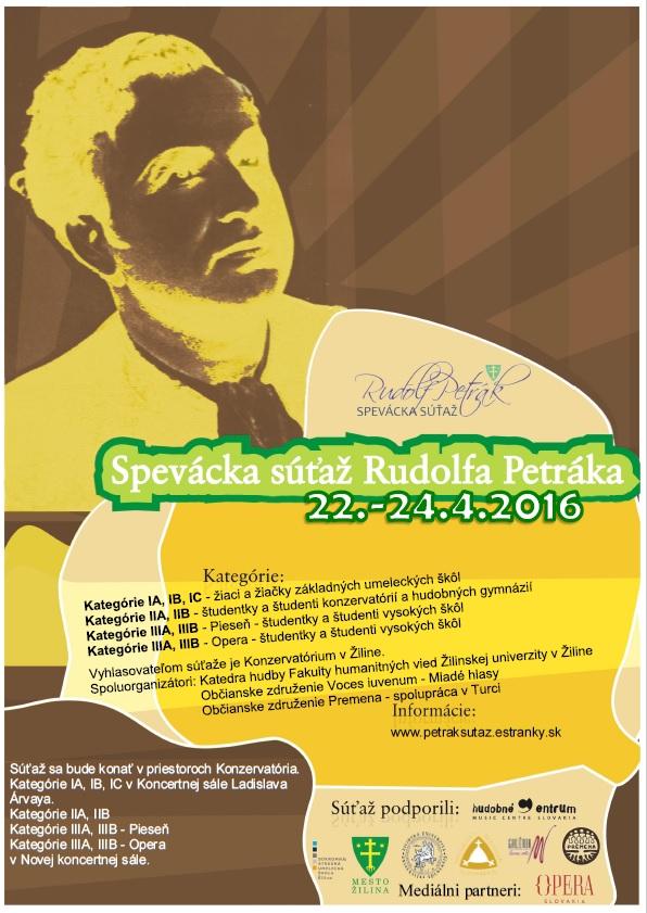 Medzinárodná spevácka súťaž Rudolfa Petráka v Žiline, plagát