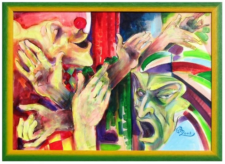 Slavomír Benko: Noc v opere, obraz, olej na plátne, 2008