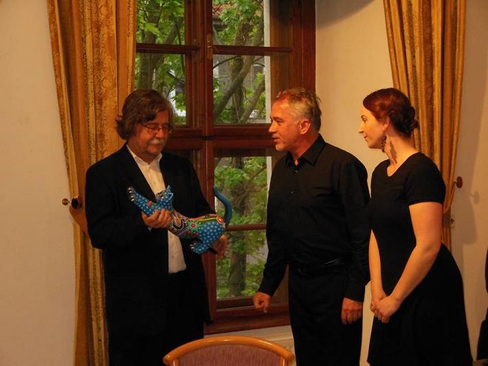 Koncert pri príležitosti životného jubilea Vladimíra Godára, 2016, Vladimír Godár, Ján Slávik, Eva Šušková, foto: albrechtina.sk