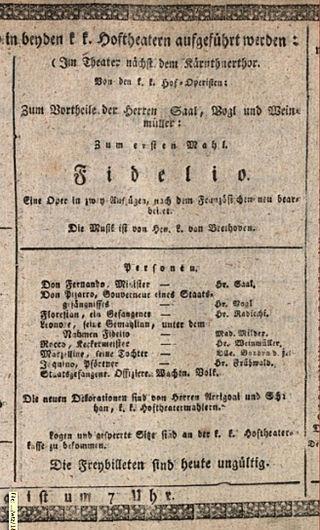 Plagát k svetovej premiére poslednej verzie Fidelia z roku 1814