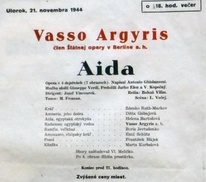 Programový plagát, G. Giuseppe Verdi: Aida, Opera SND, 1944, Archív SND